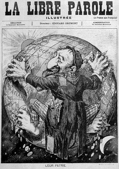 Antisemitisk karikatur fra det franske dagblad La Libre Parole i 1893