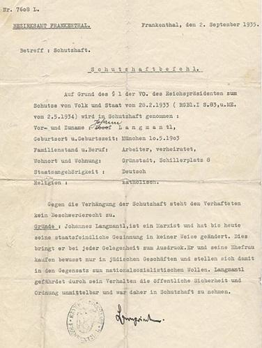 Schutzhaft-befaling mod marxisten Johannes Langmantl for statsfjentlige aktiviteter fra 2. september 1935.