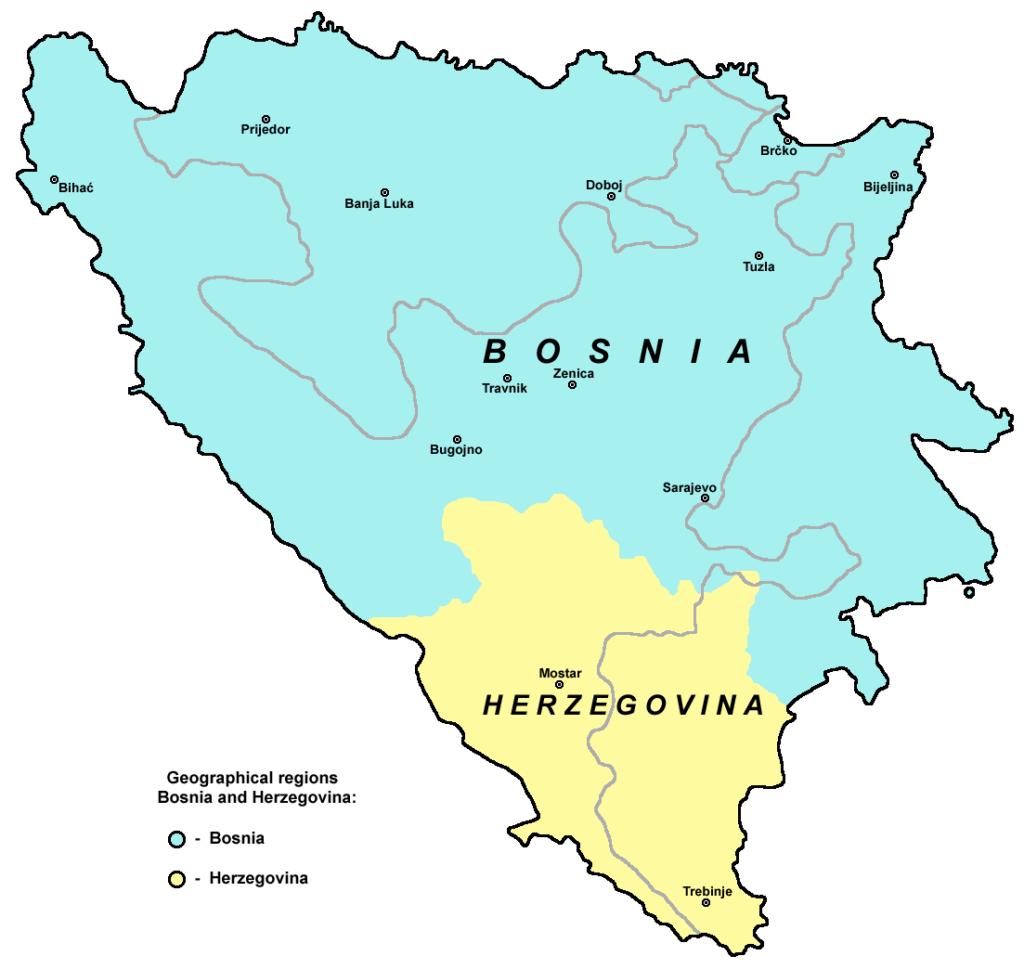 Bosnien-Hercegovinas geografiske regioner (grafik wiki commons: Panonian)