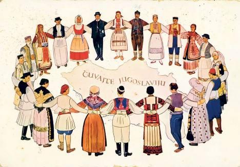 Jugoslaver med alle etniske baggrunde danser kolo