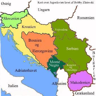 Kort over Jugoslavien