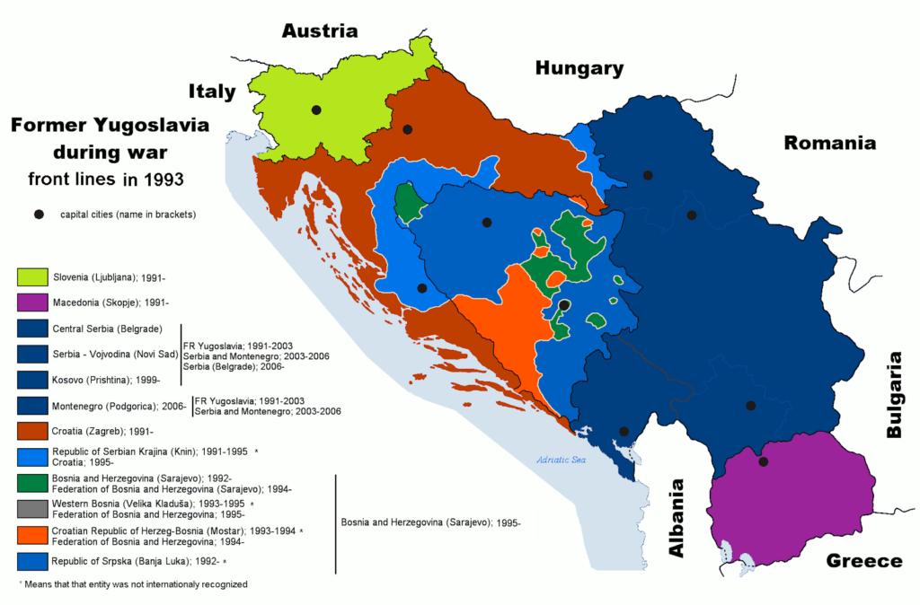 Kludetæppet Balkan efter uafhængighedskrigene i 1991 hvor Jugoslavien som stat brød sammen
